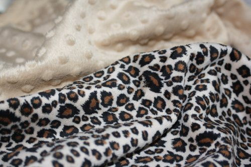 Minky Blanket - Baby Blanket, Toddler Blanket, Child Blanket - Brown, Black, and Cream Cheetah Leopard Print Miny (Large (@35