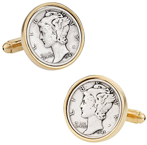 (Cuff-Daddy Mercury Dime Coin Cufflinks with Presentation Box)