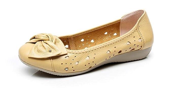 Bridfa Zapatos de cuero genuino de las mujeres holgazanes sólidos mujeres pisos ballet primavera verano zapatos planos mujer mocasines Outlet Factory: ...