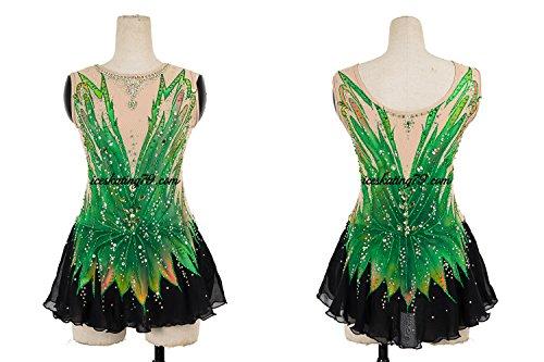 Ice Skating Dress/Girl Custom/Figure Skating Clothe/Twirling/Leotard/Baton Custom/Women/Blue/Green/Black Skirt