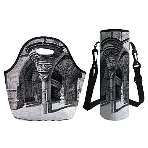 3D Print Neoprene lunch Bag with Kit Neoprene Bottle Cover,Gothic,Old Sketch of Antique Medieval European Arch in Paris Culture Heritage Vintage Art,Black White,for Adults Kids