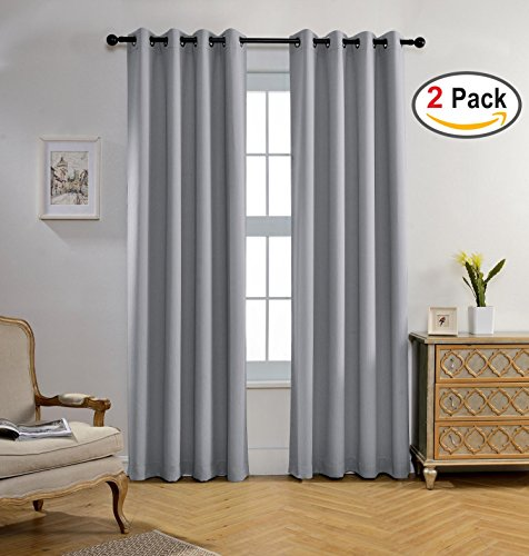 Miuco Blackout Curtains Room Darkening Curtains Textured Grommet Window Curtains for Living Room 2 Panels 52x84 Inch Long Silver (Grommet Silver)