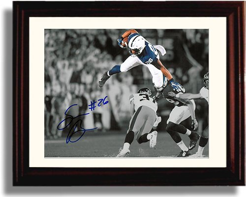 Framed Penn State - Saquon Barkley The Leap Framed Autograph Replica -