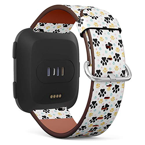 Compatible with Fitbit Versa - Quick Release Leather Wristband Bracelet Replacement Accessory Band - Dog Paw Print