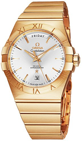 Automatic Watch Omega Wrist (Omega Constellation Mens 18K Yellow Gold Watch Automatic - 38mm Analog Silver Face with Day, Date, Second Hand and Sapphire Crystal - Swiss Made Luxury Automatic Watch for Men 123.50.38.22.02.002)