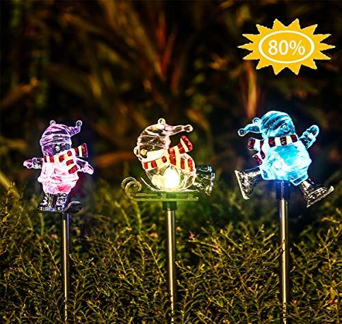 Snowman Solar Light Garden Stakes