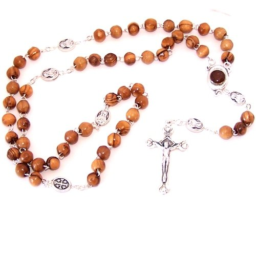 Olive wood beads Rosary made with Silver tone our Father beads and Soil Rosary Center from the Holy Land. Comes with gift Bag and (Made Wood Beads)