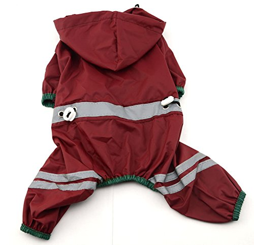 MaruPet Outdoor Polyester Puppy Waterproof Glisten Four-Leg Raincoat Doggie Hooded Rain Gear Jumpsuit for Small Extral Small Dog Teddy, Pug, Chihuahua, Shih Tzu, Yorkshire Terriers S