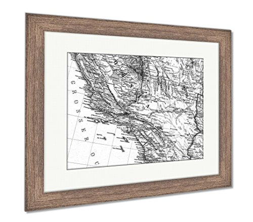 Ashley Framed Prints 1875 Antique Map Southern California, W