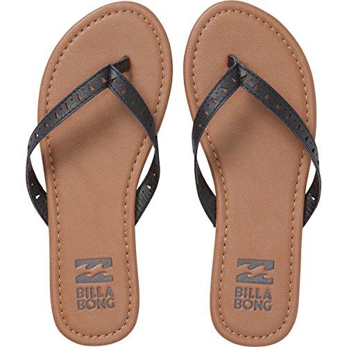 Women Leather Flip Flops (Billabong Women's Seeker Flat Sandal, Off Black, 7 M US)