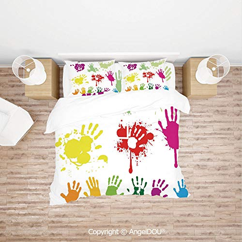 PUTIEN Durable Lightweight Fabric Printing Custom Bedding Set,Street Wall Hand Prints Splashing Circles Teenagers Spray Color Artwork Image,for Colorful Home Decor. ()