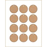 60 Printable Cardstock Circle Hang Tags with Holes, Personalize and Custom Tags, 2 x 2 inches, Kraft