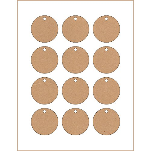 120 Printable Cardstock Kraft Circle Hang Tags with Holes, Personalize and Custom Tags, 2 x 2 inches (Bridal Hang Tags)