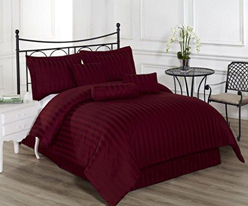 Royal Calico 7pc Comforter Set Damask Stripe 100% Cotton 350 Thread Count Bed Cover by Cozy (Stripe 10 Piece Bedding Ensemble)