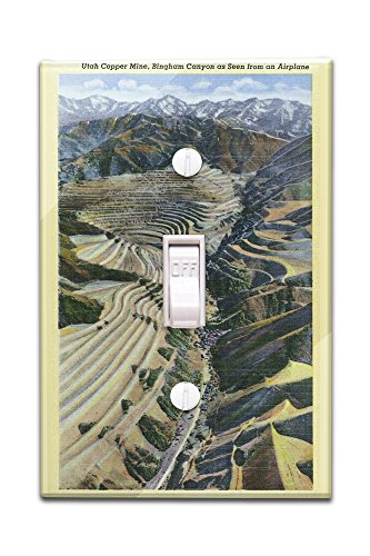 Bingham Canyon, Utah - Aerial View of a Utah Copper Mine, Bingham Canyon (Light Switchplate Cover) (Aerial America Utah compare prices)