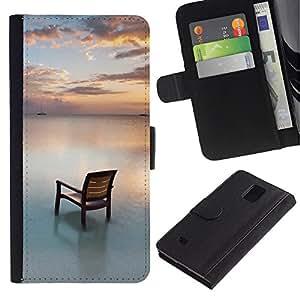Paccase / Billetera de Cuero Caso del tirón Titular de la tarjeta Carcasa Funda para - Chair Beach Sea Water Ocean Sunset Sky - Samsung Galaxy Note 4 SM-N910