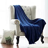 #5: Bedsure Flannel Fleece Luxury Blanket Blue Navy Throw Lightweight Cozy Plush Microfiber Solid Blanket