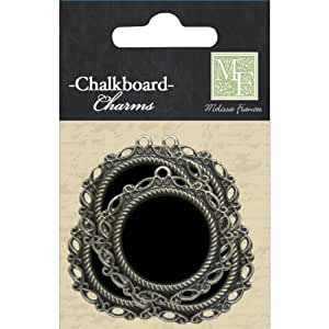 Melissa Frances DS004 Chalk Talk Metal Charm, 4-Pack