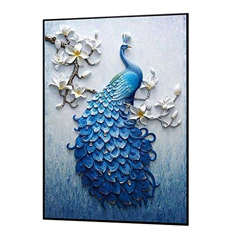 MagiDeal Handmade Diamond Embroidery, Peacock designs, Full Drill, Rhinestone, 5D, DIY Diamond Painting Kit,Cross Stitch, Diamond Art Craft Painitng, Home Wall Decoration