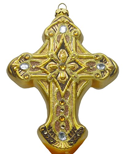 dillards-hand-crafted-gold-cross-with-jewels-ornament-5-x-3-1-2
