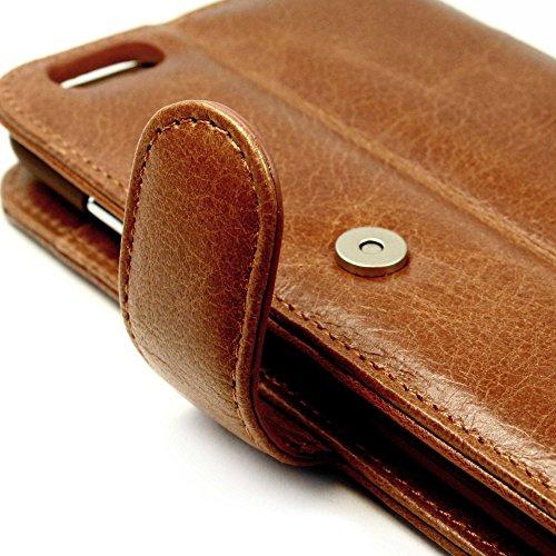 Tuff-Luv Personalisierte Vintage Ledertasche für Apple iPhone 7 Plus (inkl. Displayschutz) - Geldbörse Stil - Braun