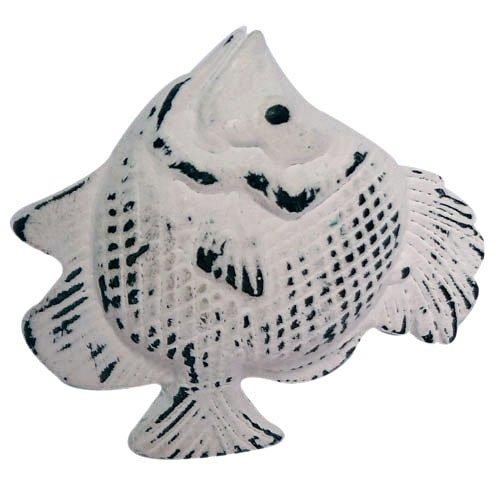 "Knobs Drawer Fish (Distress White Iron Fish Shaped Drawer Knob 2.5""l Set of 2)"