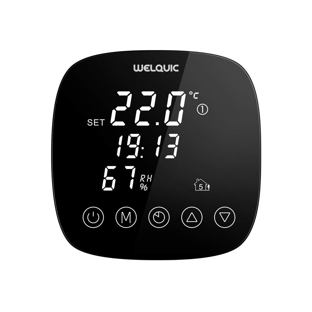 WELQUIC Thermostat Programmable Digital Num/érique pour R/églage Chauffage Electrique /à Grand Ecran Tactile LCD,Contr/ôleur de Temp/érature avec Capteur dHumidit/é