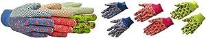 G & F 1852-3 Women Soft Jersey Garden Gloves, Women Work Gloves, 3-Pairs Green/Pink/Blue per Pack & 1823-3 JustForKids Soft Jersey Kids Garden Gloves, Kids Work Gloves, 3 Pairs Green/Red/Blue per Pack