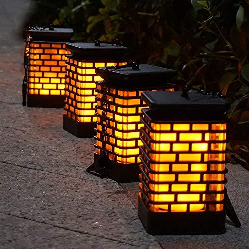 Arzerlize Solar Flame Lights Outdoor Hanging Lanterns Garden Lamp Decoration Flickering Torch Light, Waterproof Landscape Lighting Dusk to Dawn Auto ON/Off Umbrella Pavilion Patio Yard Pathway 4 Pack