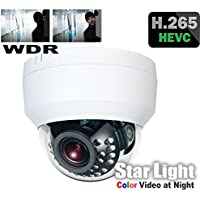 HDView H.265 StarLight WDR HD 5MP Megapixel IP Network Camera PoE, Audio In/Out, Alarm In/Out, MicroSD Memory, IR Infrared Vandal Dome Camera ONVIF