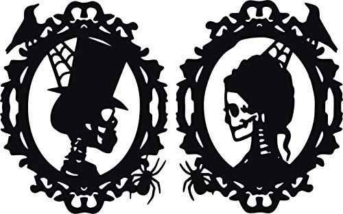 Family Connections HIS/HER Skeleton Cameo Frame ~ Black ~ Outdoor Halloween/Window / Wall/Craft Decal with Alcohol PAD~ Size 19.21