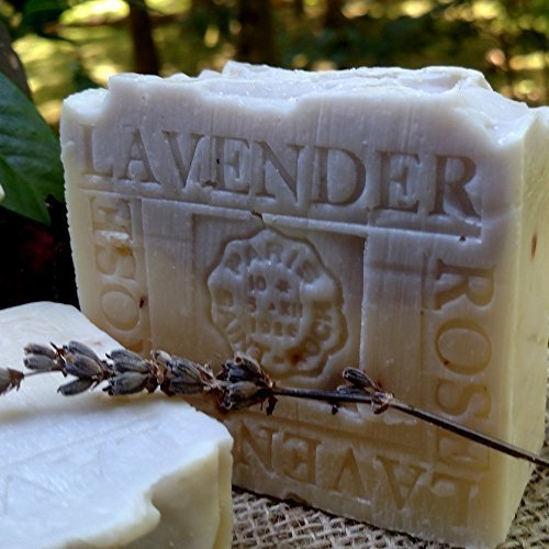 Lavender Soap-Handmade Cold Processed Soap-100% Pure Lavender Essential Crushed Rose Petals and Lavender Organic Shea Butter