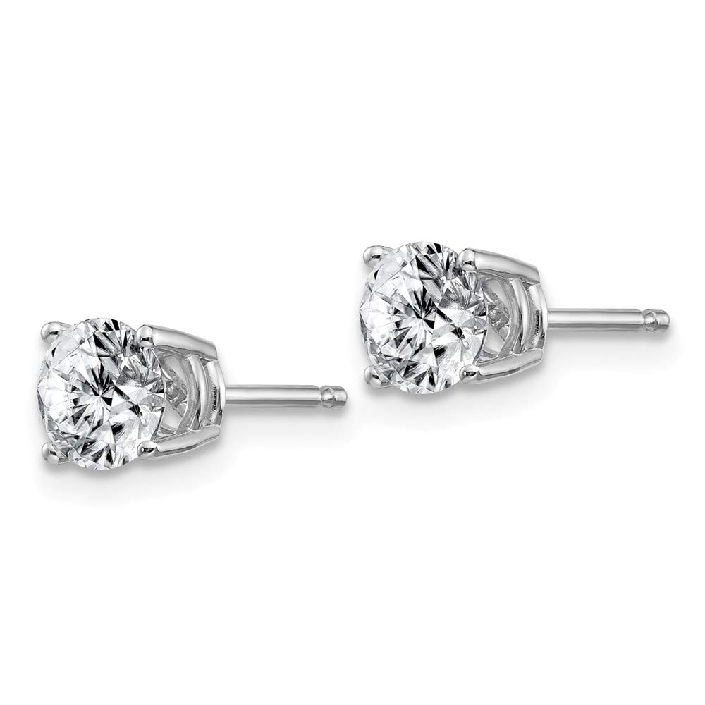 FB Jewels 14K White Gold 1.25ct 5.5mm Round Moissanite 4-Prong Basket Post Earring