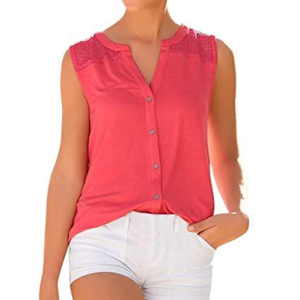 Womens O Neck Casual Vest Sleeveless Lace Patchwork Tank Tops T Shirt Top  Blouse Women Sundress