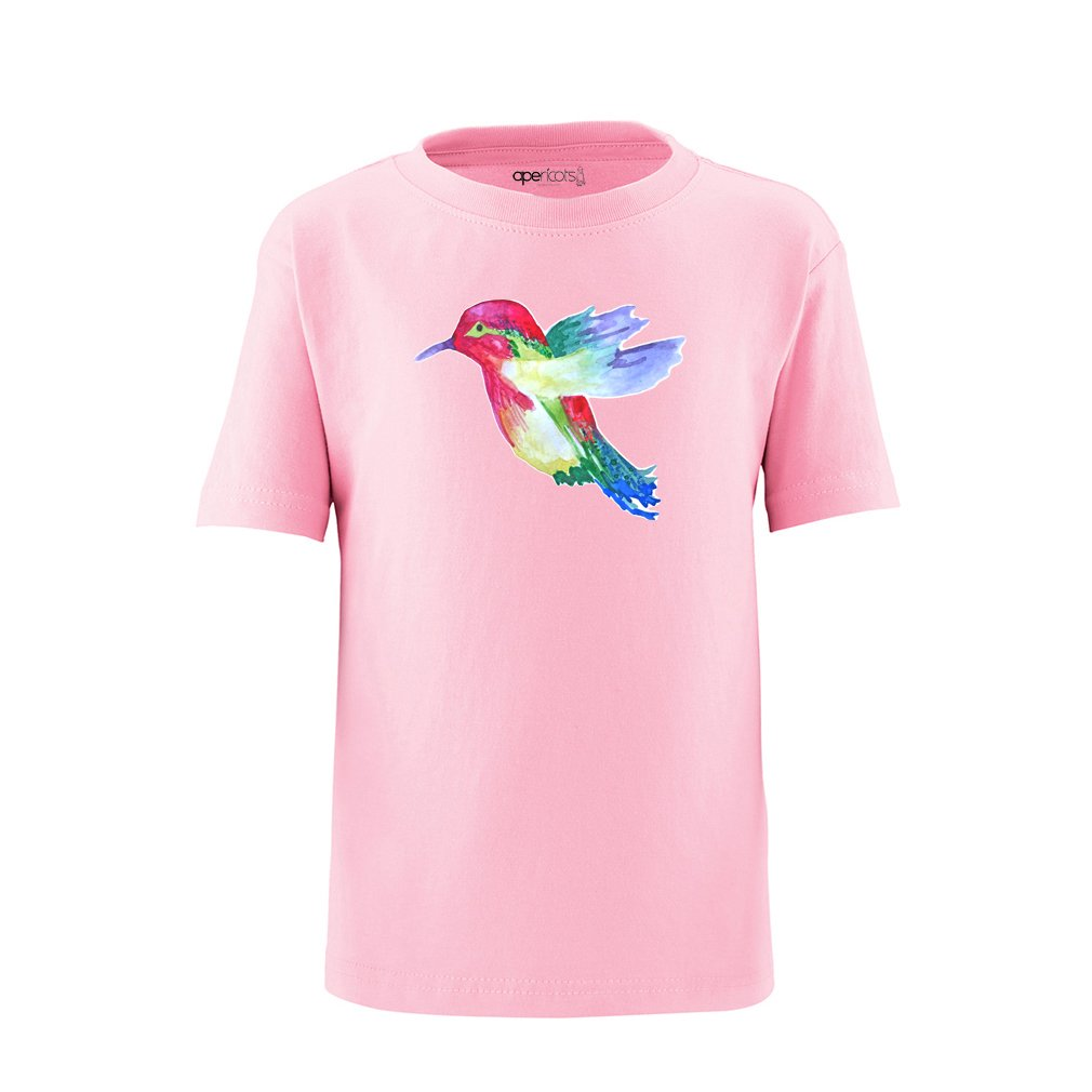 Apericots Hummingbird Watercolor Painted Print Design Unisex Toddler Kids Tee Shirt