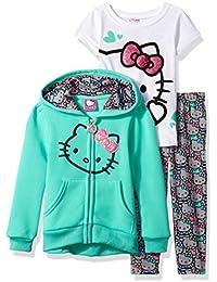 Girls' 3 Piece Zip up Hoodie Legging Set with T-Shirt and Printed Leggings