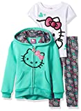 Hello Kitty Little Girls' 3 Piece Hooded Legging Set, Mint, 5