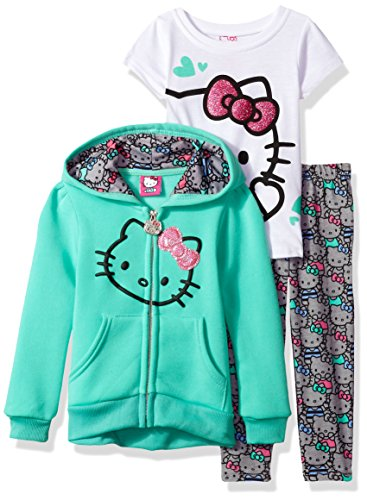 Hello Kitty Toddler Girls' 3 Piece Hooded Legging Set , Mint, 3T ()