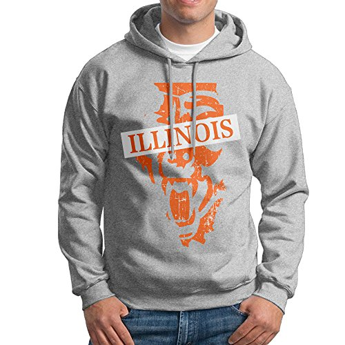 TQUSIJ Men's Long-Sleeved Sweater Illinois Map Chicago Football Bears Illustration Fashion Personality Long-Sleeved Sweater