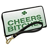 Wallet Clutch Cheers Bitches St. Patrick's Day Clover Fade with Removable Wristlet Strap Neonblond