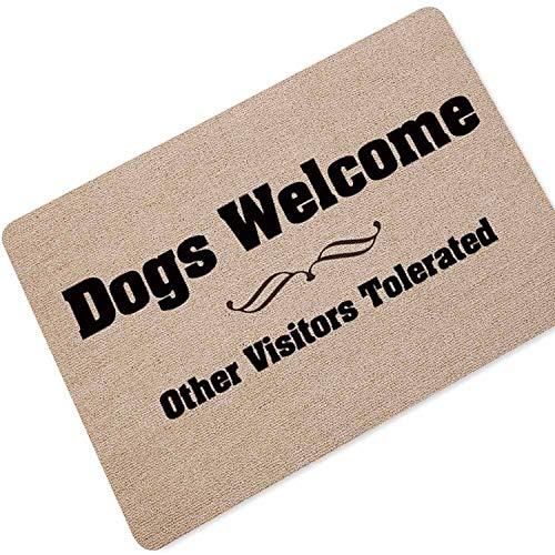 Welcome Doormat Entrance Door Mat Word Printed Anti-Slip Floor Mat Area Rugs Funny Custom Front Door Mat Carpet,Dog,45x70cm -