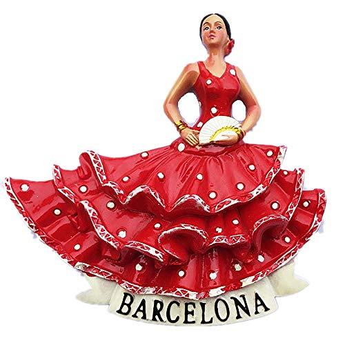 (3D Flamenco Dancer Barcelona Spain Fridge Magnet Travel Sticker Souvenir,Home & Kitchen Decoration,Barcelona Spain Refrigerator)