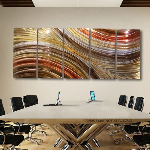 Brown, Copper & Gold Earthtone Modern Abstract Metal Wall Art