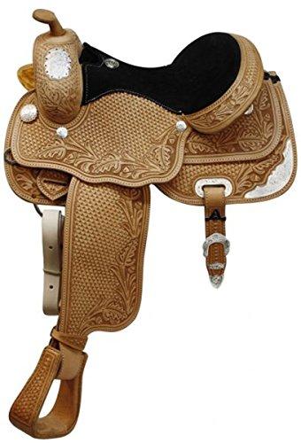 "Circle S 13"", 14"", 15"", 16"" Fully Tooled Circle S Show Saddle with Full Quarter Horse Bars. (16"")"