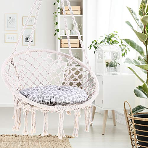 Ohuhu Hammock Chair Hanging Chair Swing with Heavy Duty Hanging Hardware Kit, Indoor Macrame Swing Chairs 100% Cotton Rope for Bedrooms, Idea Gifts for Xmas Christmas (Cushion Not Included)