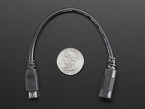 Adafruit MicroUSB Plug to 5.5//2.1mm DC Barrel Jack Adapter ADA2727