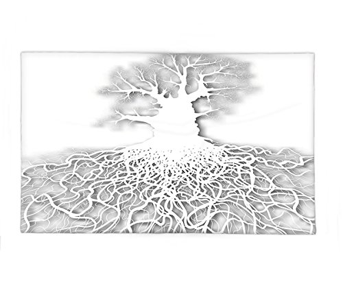 Interestlee Fleece Throw Blanket Tree of Life Decor Collection Cut Out Art Leafless Oak Tree Mature Root System Underneath Underground Image White Grey (Superhero Photo Face Cutouts)