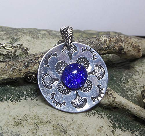Handstamped Mandala Design Pendant w Handmade Fused Glass Sapphire Blue Dichroic Cabochon Necklace Included