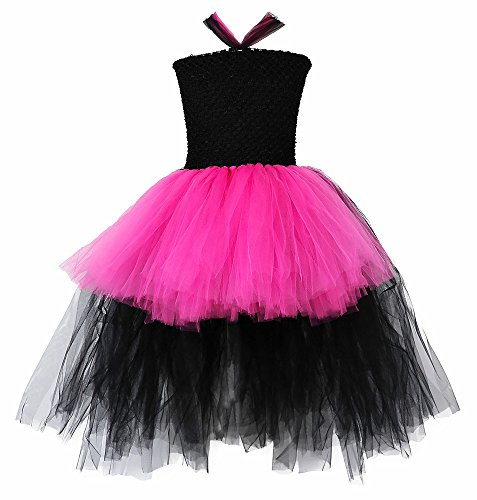 Tutu Dreams 80s Rockstar Costume for Girls Fancy Pop Hot Pink and Black Fluffy Tulle Tutus Birthday Party ()