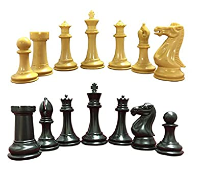 "Quadruple Heavy Weight Chess Game Set for Schools, Clubs and Tournaments - 34 Natural/Black Pieces (2 Extra Queens), 4"" Tall King, Green 20"" x 20"" Vinyl Roll-Up Board and How to Play Chess E-Book"